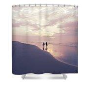 A Morning Walk On The Beach Shower Curtain