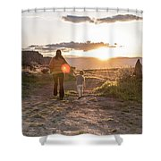 A Mother And Child Hike At Sunset Shower Curtain