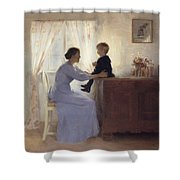 A Mother And Child In An Interior Shower Curtain by Peter Vilhelm Ilsted