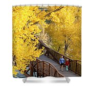 A Mother And Daughter Walking Shower Curtain