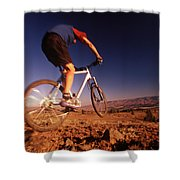 A Mountain Bike Rider On A Ride Shower Curtain