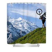 A Mountain Biker Is Carrying His Bike Shower Curtain