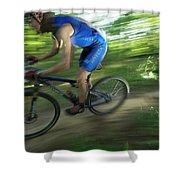 A Mountain Biker Races On A Trail Shower Curtain