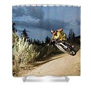 A Mountain Biker Rides A Trail Shower Curtain