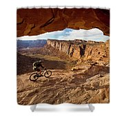 A Mountain Biker Rides By On Slickrock Shower Curtain