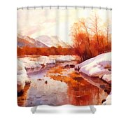 A Mountain Torrent In A Winter Landscape Shower Curtain