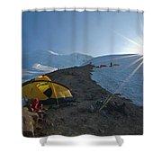 A Mountaineer Contemplates The Sun Shower Curtain