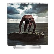 A Muscular Man In The Starting Position Shower Curtain