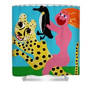 A Naked Woman Holding A Penguin Shower Curtain