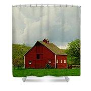 A Neat Red Barn Near Sheridan Wyoming Shower Curtain