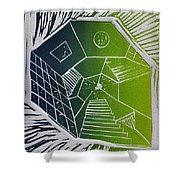 A New Dimension Blue And Green Linocut Shower Curtain