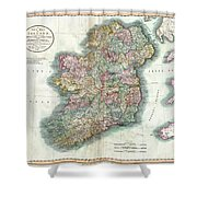 A New Map Of Ireland 1799 Shower Curtain