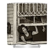 A New Orleans Greeting Sepia Shower Curtain