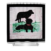 A Newfoundland Dog And A Labrador Retriever Shower Curtain
