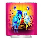 A Nice Ride On The Furry Ponies  Shower Curtain