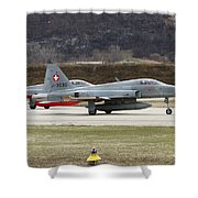 A Northrop F-5e Tiger Of The Swiss Air Shower Curtain