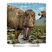 A Pack Of Tyrannosaurus Rex Dinosaurs Shower Curtain