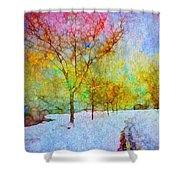 A Painted Winter Shower Curtain
