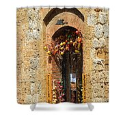 A Painting A Tuscan Shop Doorway Shower Curtain