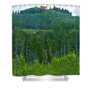 A Painting A Tuscan Vineyard And Villa Shower Curtain
