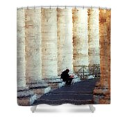 A Painting Alone Among The Vatican Columns Shower Curtain