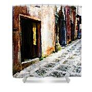 A Painting An Italian Street Shower Curtain