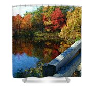 A Painting Autumn Lake And Bridge Shower Curtain