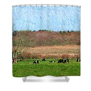 A Painting Cows Grazing And Newport Bridge Shower Curtain