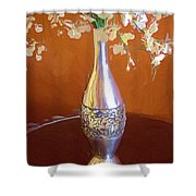 A Painting Silver Vase On Table Shower Curtain