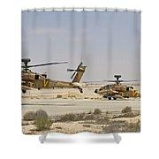 A Pair Of Ah-64d Saraf Attack Shower Curtain