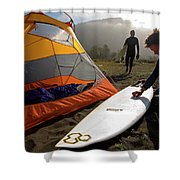 A Pair Of Surfers Prepare To Surf Shower Curtain