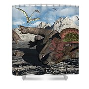 A Pair Of Triceratops Trapped Shower Curtain