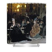 A Parisian Cafe Shower Curtain by Ilya Efimovich Repin
