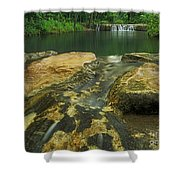 A Peaceful Early Morning At Little Niagra Waterfall A Shower Curtain
