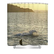 A Person Hiking On Rocky Shore Shower Curtain