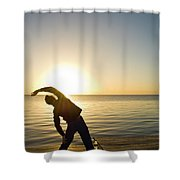 A Person Practices Yoga At The Waters Shower Curtain