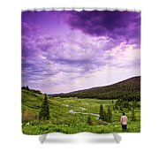 A Person Stand In A Field Watching Shower Curtain