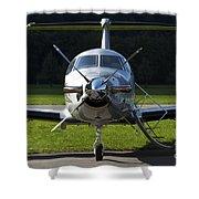 A Pilatus Pc-12 Private Jet Shower Curtain