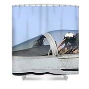 A Pilot Salutes Prior To Take Off In An Shower Curtain