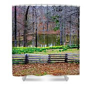 A Place Of Peace Among The Daffodils Shower Curtain