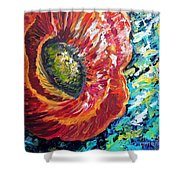 A Poppy Takes Center Stage Shower Curtain