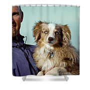 A Portrait Of A Man And A Dog Shower Curtain