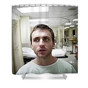 A Portrait Of A Young Man Sitting Shower Curtain