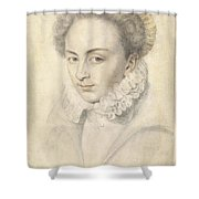 A Portrait Of A Young Woman In A Ruffled Collar Shower Curtain
