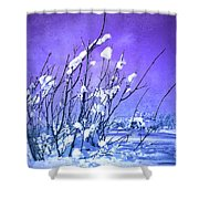 A Purple Winter Shower Curtain
