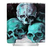 A Pyramid Of Skulls After Cezanne Shower Curtain