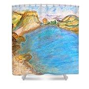 A Quiet Beach  Shower Curtain