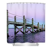 A Quiet Evening At Dusk With A Moonrise Shower Curtain