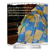 A Quilt With Daisies And Quote Shower Curtain