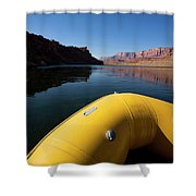 A Raft Floats Down A River Shower Curtain